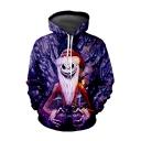 Halloween Purple Christmas Night Skull 3D Printed Drawstring Hooded Long Sleeve Loose Hoodie