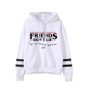 Popular Letter Friends Don't Lie Printed Stripe Long Sleeve Pullover Hoodie