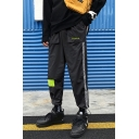 Men's Street Style Trendy Letter Printed Colorblock Patched Tape Side Casual Loose Sports Track Pants