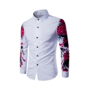 Summer New Trendy Leisure Floral Printed Long Sleeve Button Up White Shirt for Men