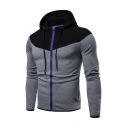 Mens Popular Fashion Colorblock Patched Drawstring Hooded Long Sleeve Casual Sports Zip Up Hoodie