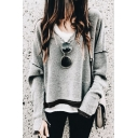 Women's Fashion V-Neck Long Sleeve Frayed Hem Loose Leisure Plain Pullover Sweatshirt