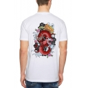 Summer New Trendy Dragon Print Round Neck Short Sleeve Street Style Loose Leisure White T-Shirt
