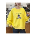 Stylish High Low Hem SPECIAL Letter Print Round Neck Long Sleeve Loose Sweatshirt