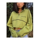 New Stylish Letter Embroidered Zippered Lapel Collar Lantern Cropped Pullover Green Sweatshirt