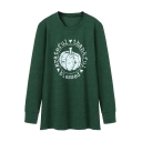 Pumpkin Letter Printed Round Neck Long Sleeve Sweatshirt