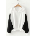 Simple Color Block Long Sleeve Hoodie