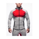 Hot Fashion Stand Collar Long Sleeve Zip Placket Colorblocked Fitted Sports Jacket