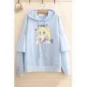 Sailor Moon Comic Girl Printed Layered Patch Long Sleeve Fitted Drawstring Hoodie