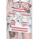 Hot Sale Newspaper Print Pocket Front Belted A-line Mini Skirt
