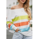 Hot Women's Stripe Print One Shoulder Long Sleeve Pullover Sweatshirt