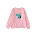 Cartoon Crocodile Printed Round Neck Long Sleeve Loose Sweatshirt