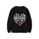 Kpop Boy Band Cute Cartoon Animals I AM AN ARNYBTSAHOLIC Letter Printed Round Neck Long Sleeve Sweatshirt