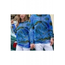 Couple 3D Blue Vortex Tie Dye Printed Round Neck Long Sleeve Pullover Sweatshirt