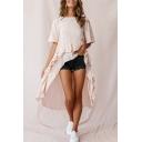 Womens New Trendy Plain Round Neck Short Sleeve Ruffle Detail Asymmetrical Longline T-Shirt