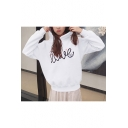 Trendy Letter Print Cute Cat Ears Pullover Hoodie