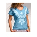 Hot Fashion Wing Pattern Round Neck Short Sleeve Blue T-Shirt For Women