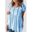Summer Hot Stylish Tribal Print Short Sleeve V-Neck High Waist Tank Tee For Women