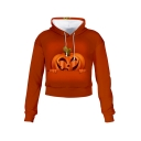 3D Pumpkin Printed Long Sleeve Halloween Series Drawstring Cropped Hoodie