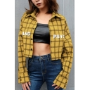 Simple Letter Psycho Print Plaid Pattern Button Down Yellow Cropped Shirt