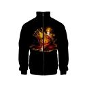 Nee Stylish Halloween Pumpkin Print Rib Stand Collar Long Sleeve Black Baseball Jacket