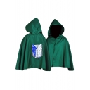 Logo Back Printed Single Button Hooded Cape Short Coat