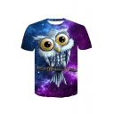 Popular Comic Owl Print Round Neck Short Sleeve Unisex T-Shirt