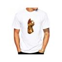 Summer New Trendy Hand Comic Printed Short Sleeve Round Neck White T-Shirt
