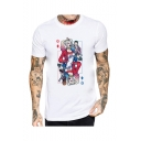 Unique Creative Poker Comic Figure Printed Short Sleeve Round Neck Casual White Tee
