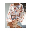 Womens Trendy Tribal Floral Print Round Neck Puff Long Sleeve White Loose Blouse