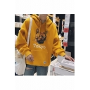 Cute Cartoon Cat Letter TOKYO Printed Drawstring Hooded Long Sleeve Unisex Casual Loose Hoodie