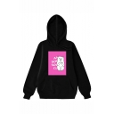 Cute Cartoon Cat Letter Printed Long Sleeve Unisex Stylish Hoodie with Pocket
