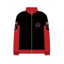 Hot Popular Comic 3D Printed Black and Red Long Sleeve Stand Collar Zip Up Hoodie