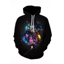 Star Wars Comic Figure 3D Printed Black Relaxed Fit Long Sleeve Drawstring Hoodie