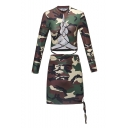 Womens Camouflage Print Front Tie Long Sleeve Round Neck Skinny Tee Stretch Skirt Co-ords