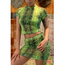 Womens Summer Snake Print Patterns Short Sleeve Round Neck Skinny Crop Tee Mini Skirt Drawstring Sides Co-ords