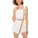 Stylish White Multicolor Patchwork Print Sleeveless Square Neck Strap Crop Top with Wrap Skirt Co-ords