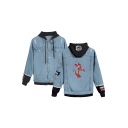 New Stylish Mulan Dragon Printed Long Sleeve Button Closure Hooded Denim Jacket for Men