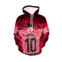 Popular Football Player Figure Letter 10 3D Printed Long Sleeve Rose Red Casual Loose Hoodie