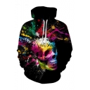 Creative Fashion Letter I LOVE YOU Skull Spray Paint 3D Printed Long Sleeve Loose Fit Black Drawstring Hoodie