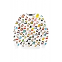 Hot Fashion Comic Figure All-Over Printed Long Sleeve Round Neck Unisex White Pullover Sweatshirts