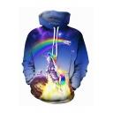 Hot Fashion Cool Unicorn Galaxy Rainbow 3D Printed Drawstring Hooded Long Sleeve Unisex Blue Loose Hoodie