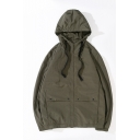 Mens Vintage Simple Plain Long Sleeve Zip Up Drawstring Hooded Casual Loose Trench Jacket