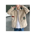 Guys Fashion Simple Letter OMG Printed Long Sleeve Single Breasted Lapel Collar Casual Corduroy Jacket