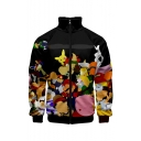 New Fashion Funny Cartoon 3D Printed Stand Collar Long Sleeve Zip Up Black Jacket