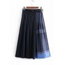 Women Elastic Waist Patchwork-Print Pleated Midi Skirt