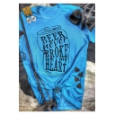 New Stylish BEER NEVER BROKE MY HEART Letter Printed Round Neck Short Sleeve Blue T-Shirt