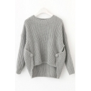 Womens Simple Plain Round Neck Drop Sleeve Loose Knitted Sweater