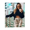 Womens Cool Plain Hoodie Shredded Ribbed Knit Bloomed Sleeve Crop Top Sweater