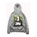 Funny Mona Lisa Cartoon Cat Printed Long Sleeve Unisex Gray Casual Sports Pullover Hoodie